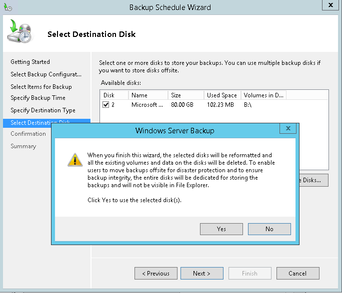 domalab.com Exchange 2016 Backup destination disk reformatted