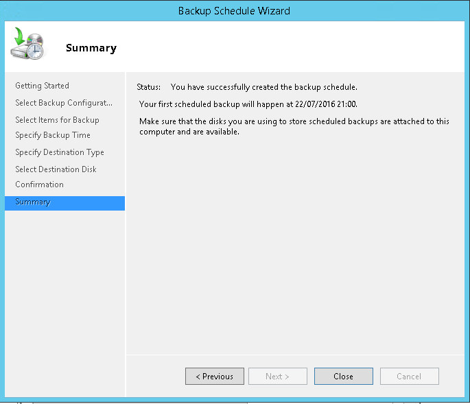domalab.com Exchange 2016 Backup wbadmin summary