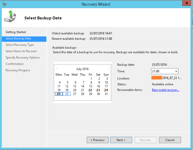 domalab.com Exchange 2016 Mailbox Database Restore select backup date