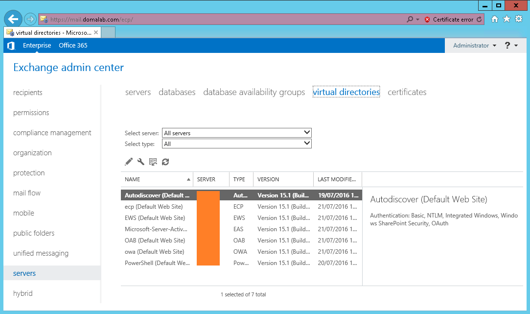 domalab.com Exchange 2016 URL Admin Center