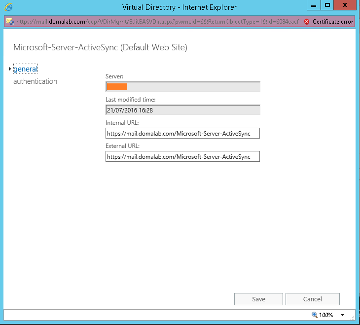 domalab.com Exchange 2016 URL ActiveSync