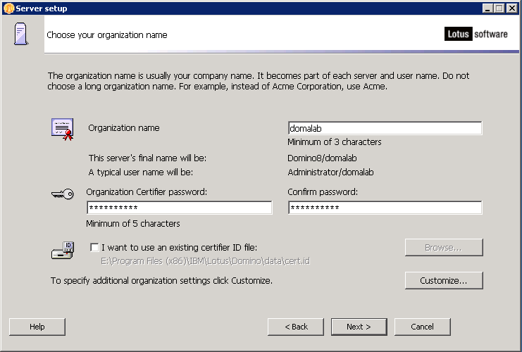 domalab.com configure Domino organization name