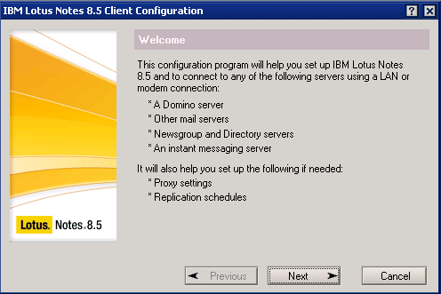 IBM Lotus Domino Client Configuration