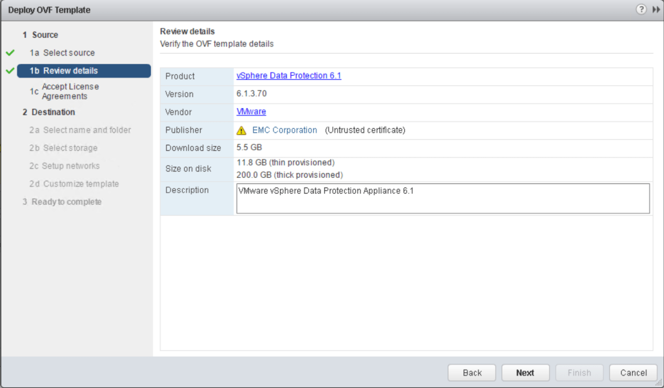 domalab.com VMware VDP install ovf details