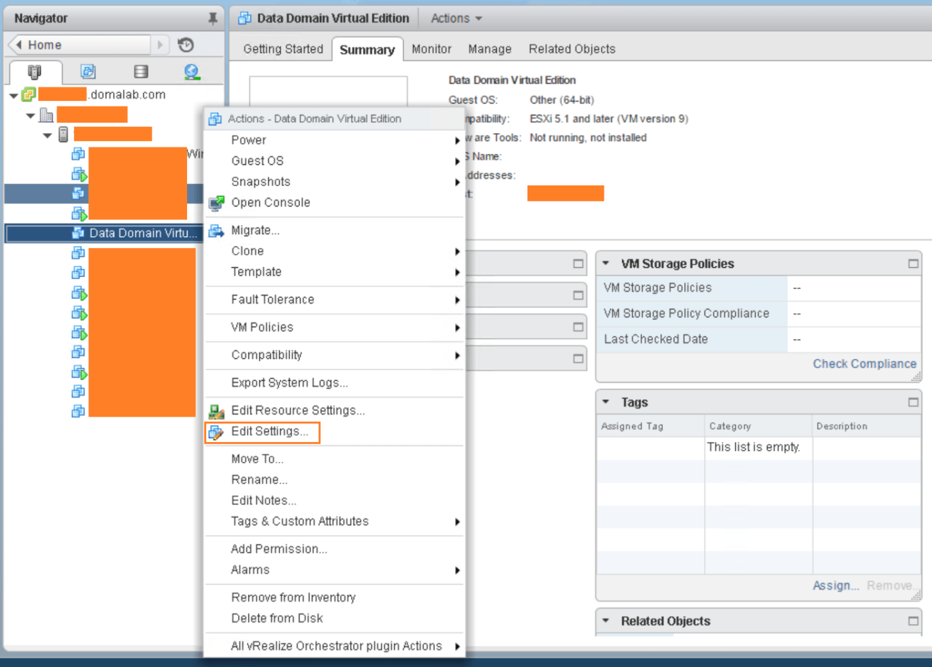 domalab.com Data Domain virtual edition settings