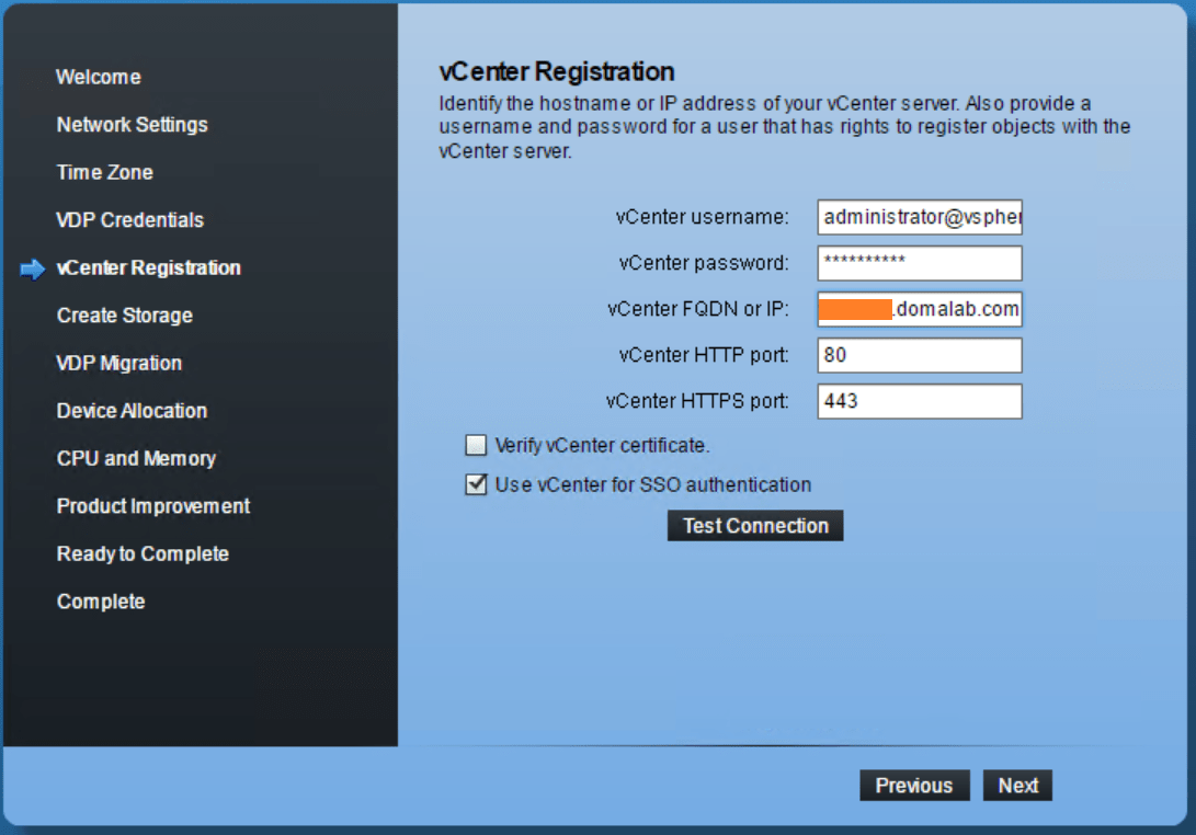 domalab.com VMware VDP configuration registration