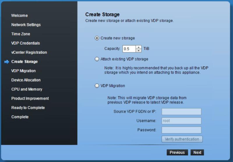 domalab.com VMware VDP configuration create storage