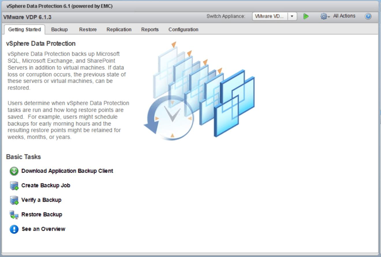 domalab.com VMware VDP configuration dashboard