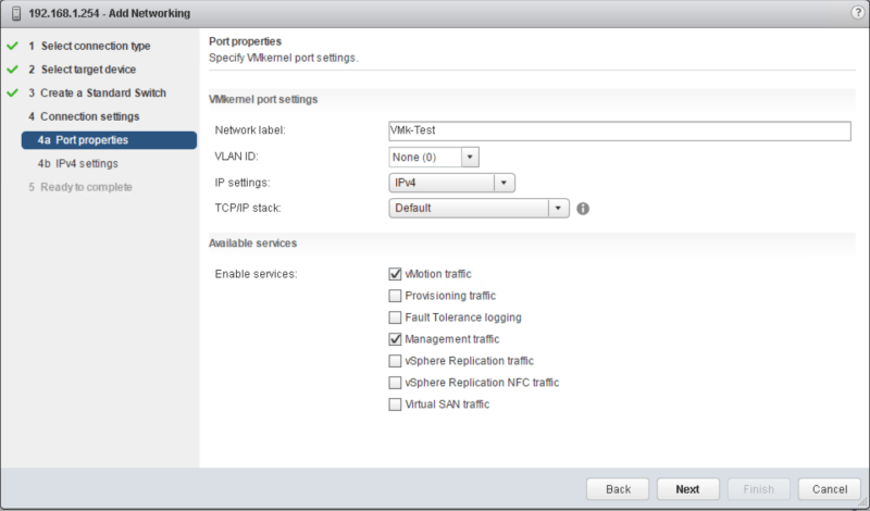 domalab.com vSphere Standard Switches port properties
