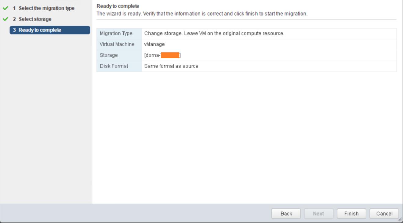 domalab.com VMware vMotion storage wizard summary