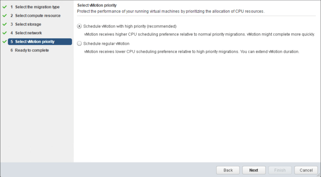 domalab.com VMware vMotion select priority