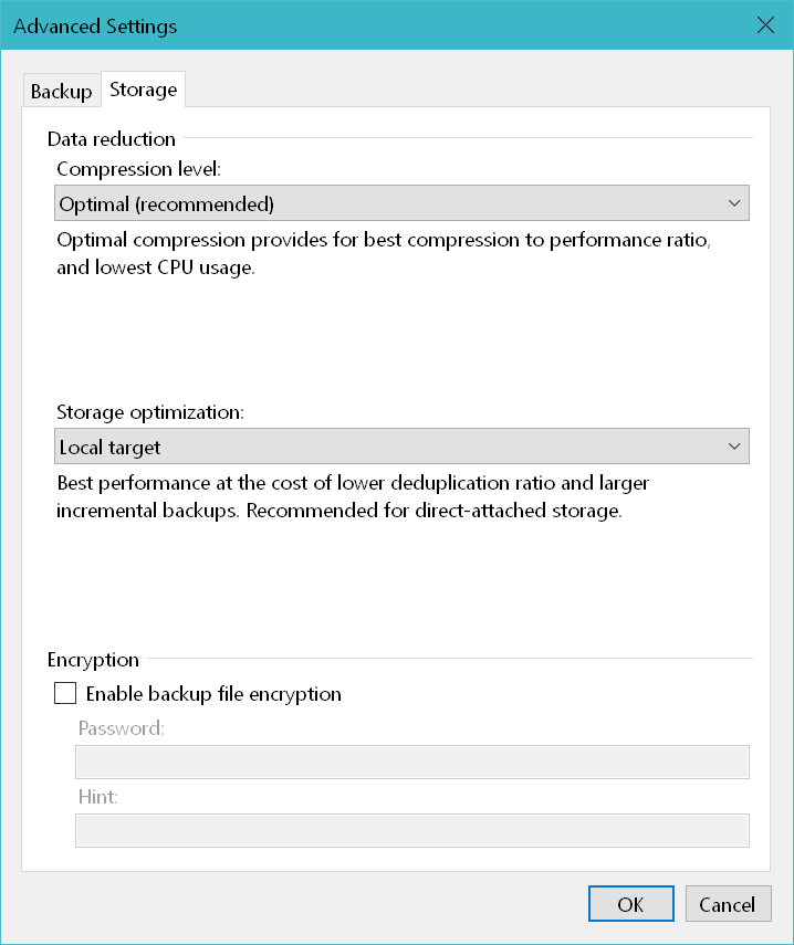 domalab.com Windows Backup Agent storage settings