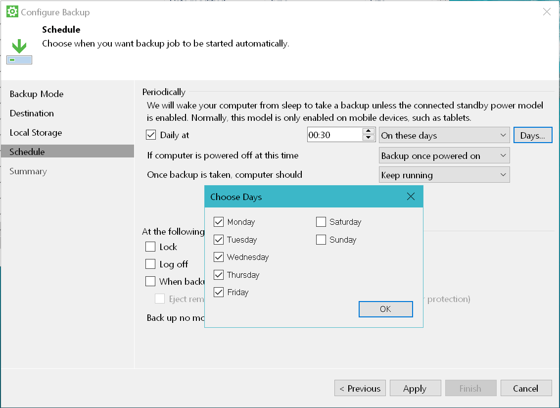 domalab.com Windows Backup Agent schedule settings