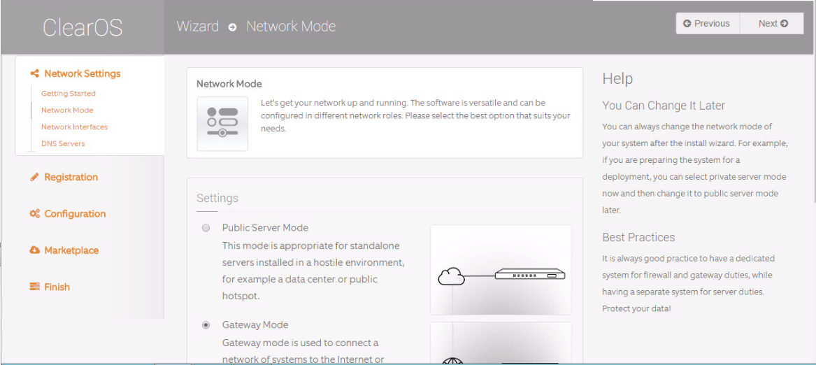 domalab.com Configure ClearOS network mode