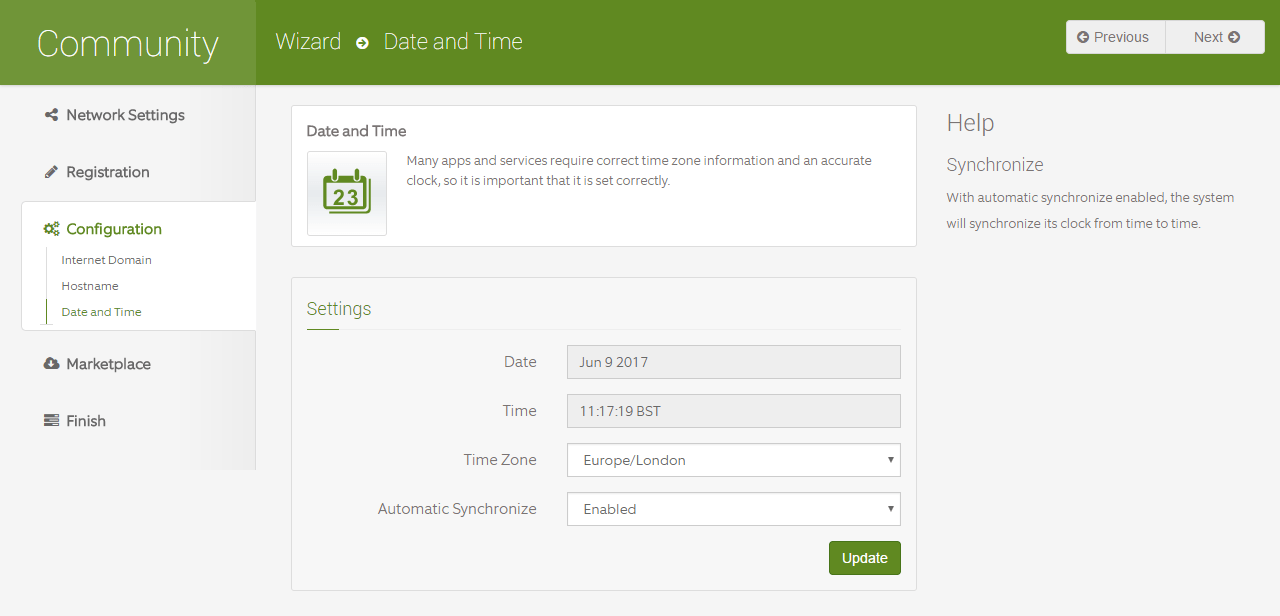 domalab.com Configure ClearOS timezone settings