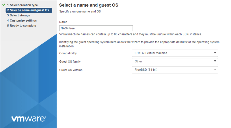 Install NAS4Free on VMware ESXi Part 1