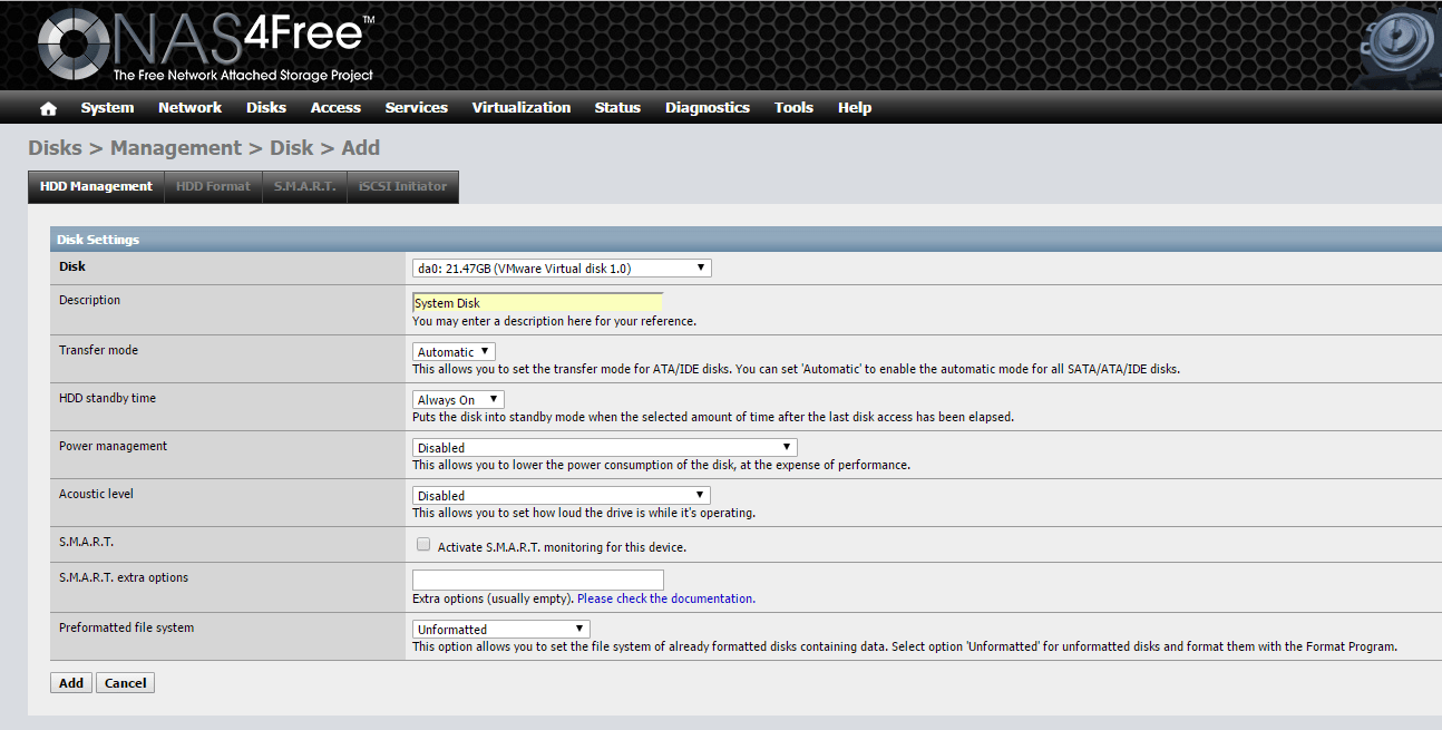 domalab.com Configure NAS4Free create data partition
