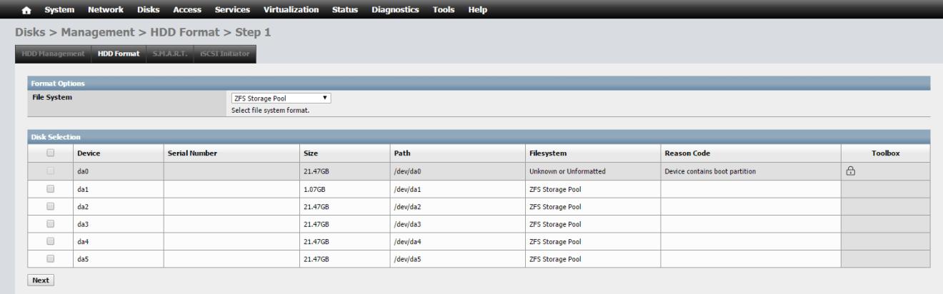 domalab.com NAS4Free storage disk format zfs pool