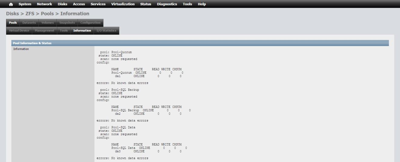 domalab.com NAS4Free storage zfs pools information