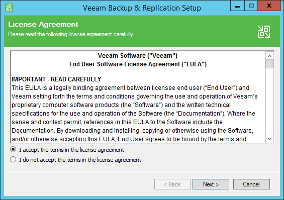 Backup and Replication EULA