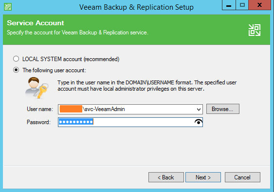 Backup and Replication user account