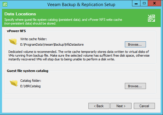 Backup and Replication install locations
