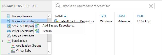 CIFS Share Add Veeam Backup Repository