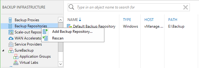 CIFS Share Add Veeam Backup Repository