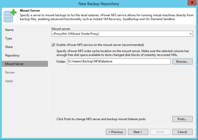 CIFS Share Veeam vPower NFS