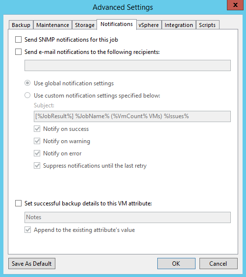 Veeam Backup Job notification