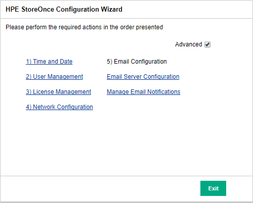 HPE StoreOnce Configuration Wizard Advanced