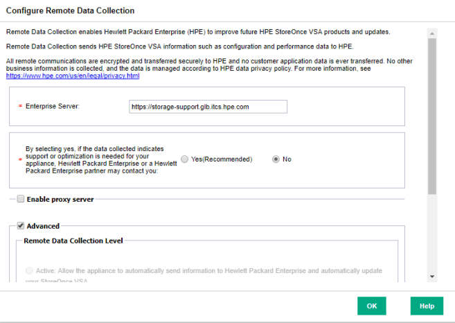 HPE StoreOnce VSA Configure Remote Data Collection