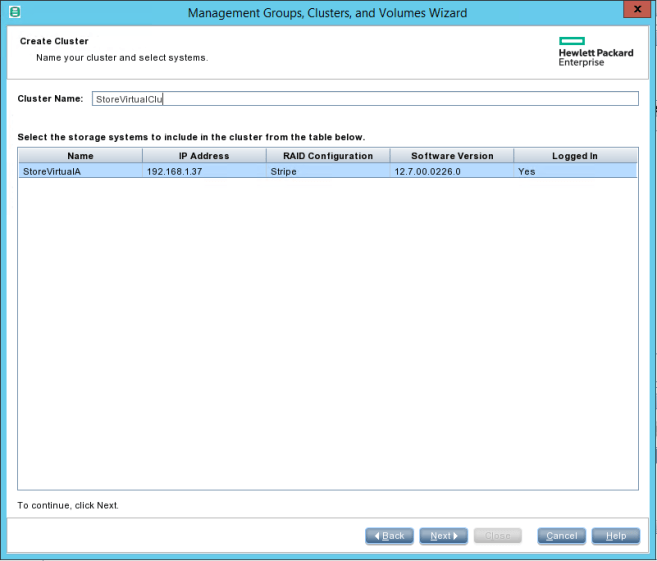 HPE StoreVirtual Management Cluster name