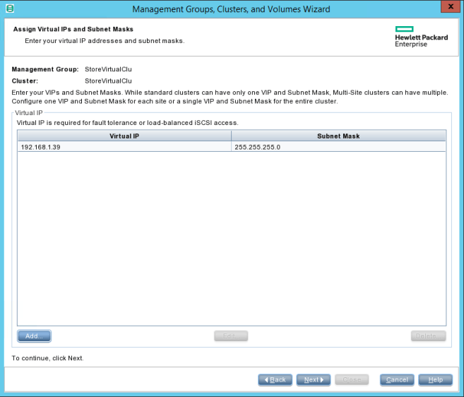 HPE StoreVirtual Management Cluster IP