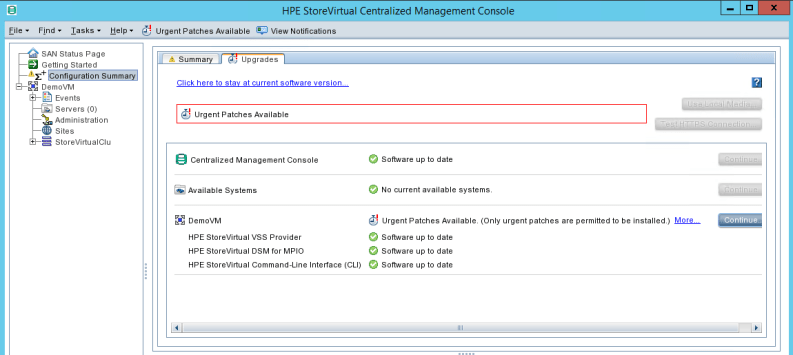 update HPE StoreVirtual Management console