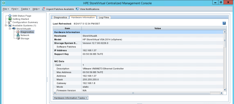 configure HPE StoreVirtual Hardware information