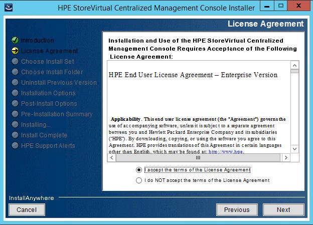 StoreVirtual Centralized Management Console EULA