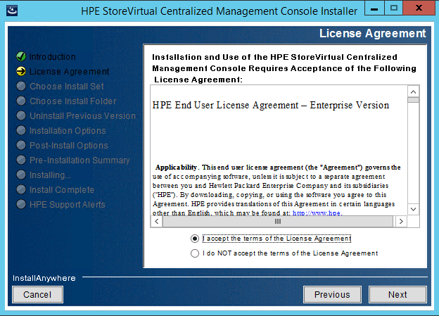 StoreVirtual Centralized Management Console EULA