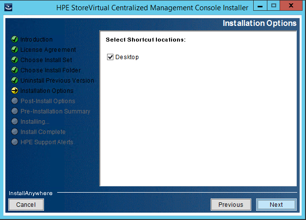 StoreVirtual Centralized Management Console install option