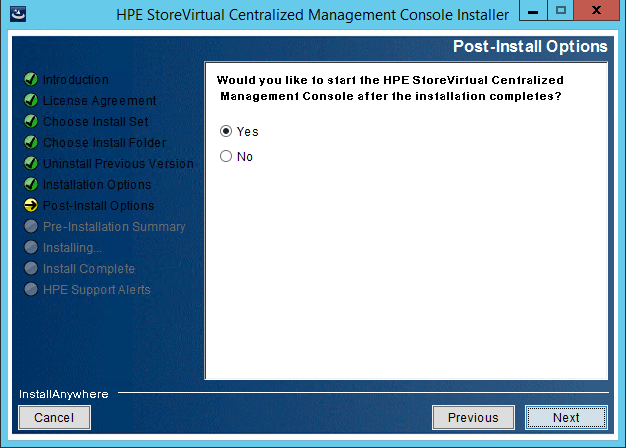 StoreVirtual Centralized Management Console post install option