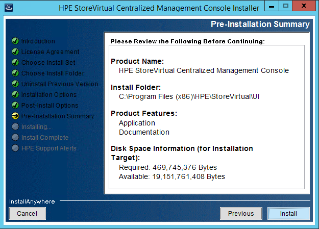 StoreVirtual Centralized Management Console pre-install summary