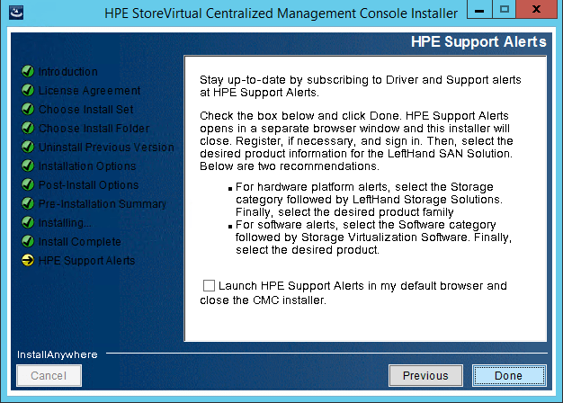 StoreVirtual Centralized Management Console support alerts