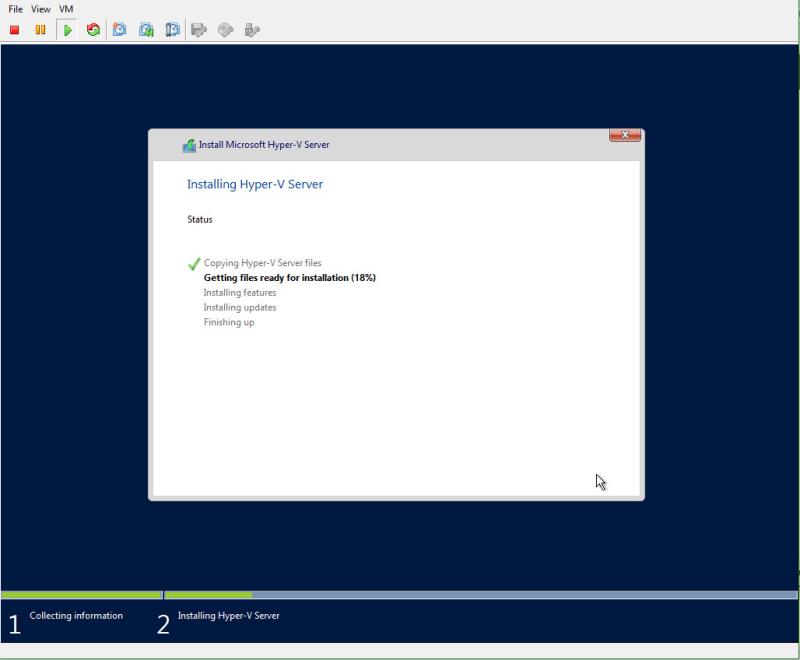 Hyper-V 2016 Install progress