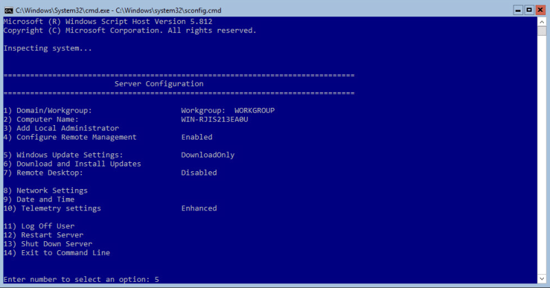 Hyper-V 2016 Configuration Windows Update