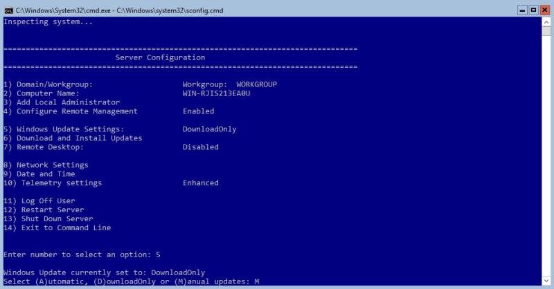 Hyper-V 2016 Configuration Windows Update Manual