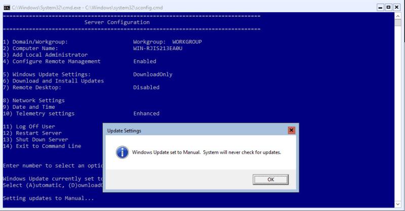 Hyper-V 2016 Configuration Windows Update disable