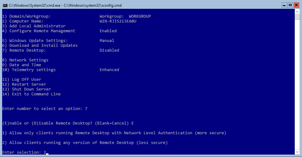 Hyper-V 2016 Configuration RDP NLA