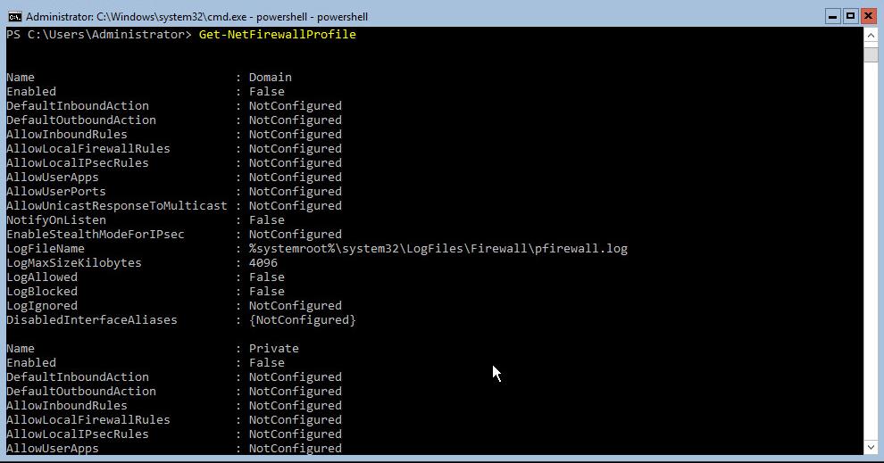 Hyper-V 2016 Configuration Powershell Firewall status