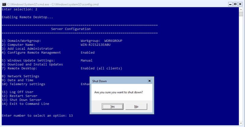 Hyper-V 2016 Configuration shutdown