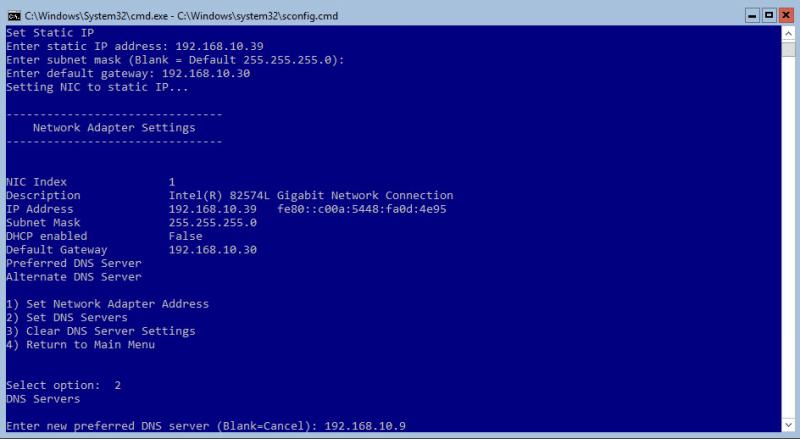 Hyper-V 2016 Configuration Network DNS